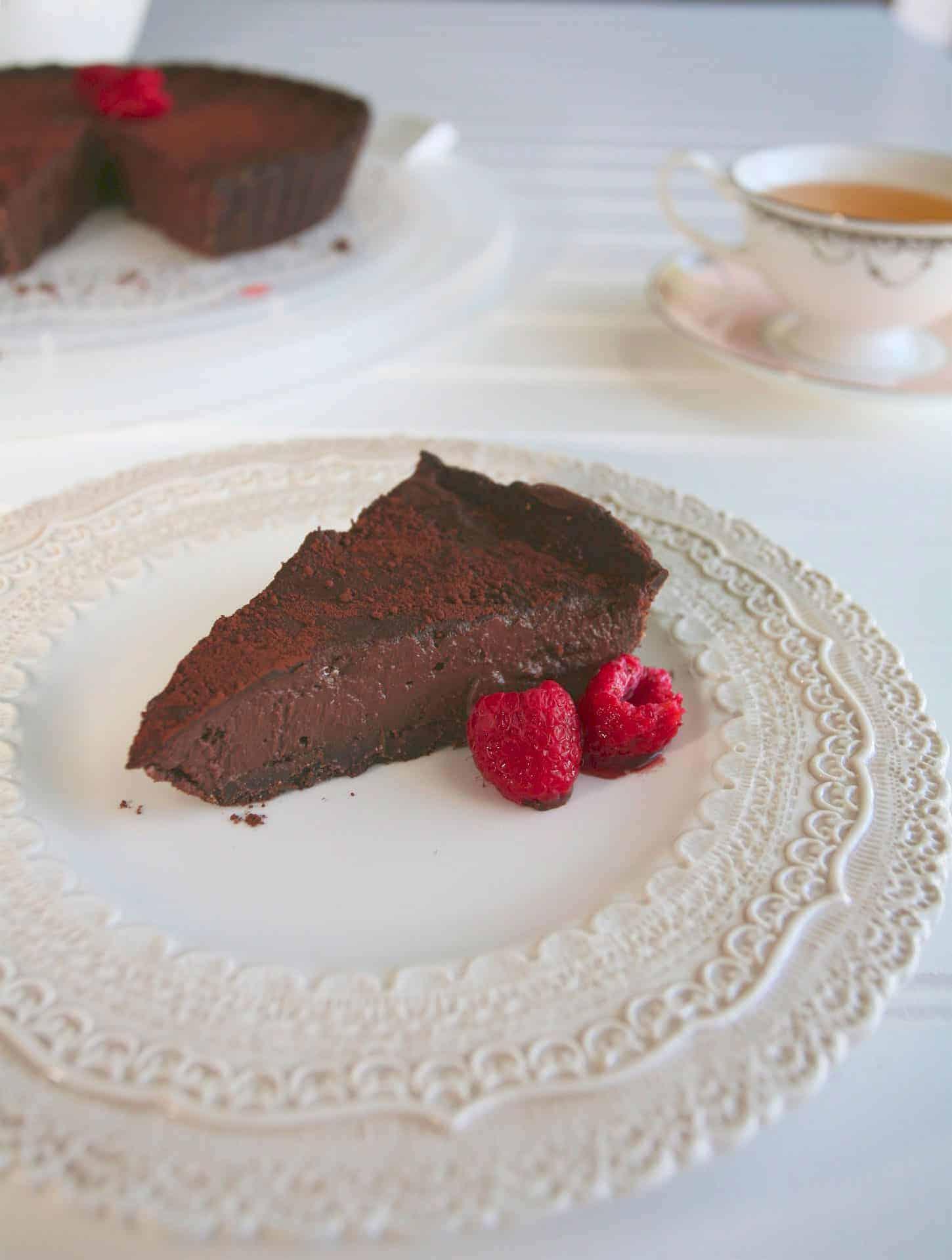 [生酮甜點] 覆盆莓巧克力派 Raspberry Chocolate Cream Pie- 奶素可食
