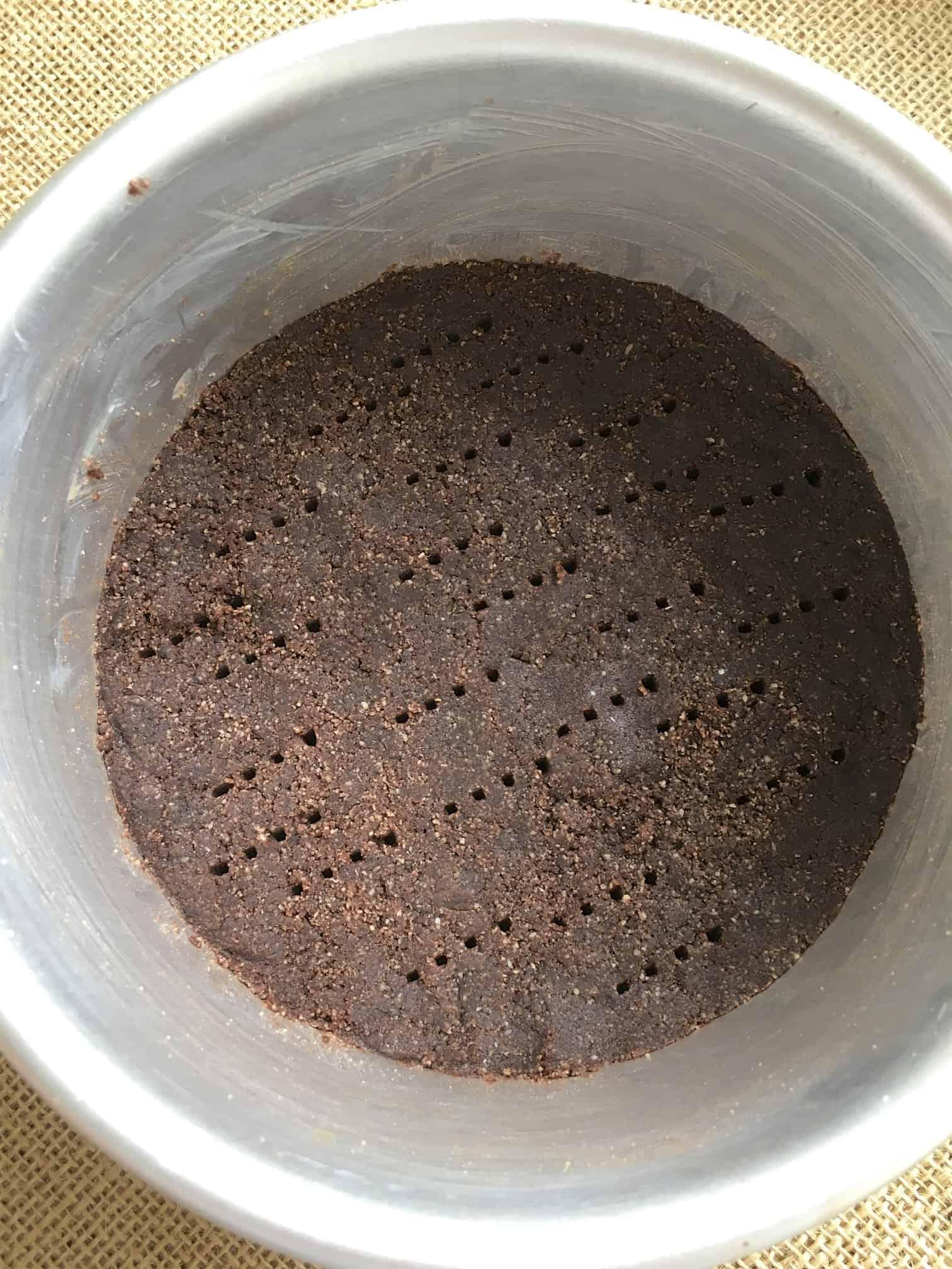 chocolate crust for Keto Matcha Cheesecake