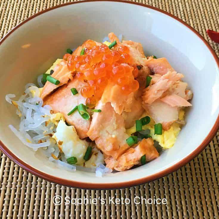 鮭魚親子蒟蒻丼 Salmon Ikura Don 鮭いくら丼 – 健康低卡高纖日式料理