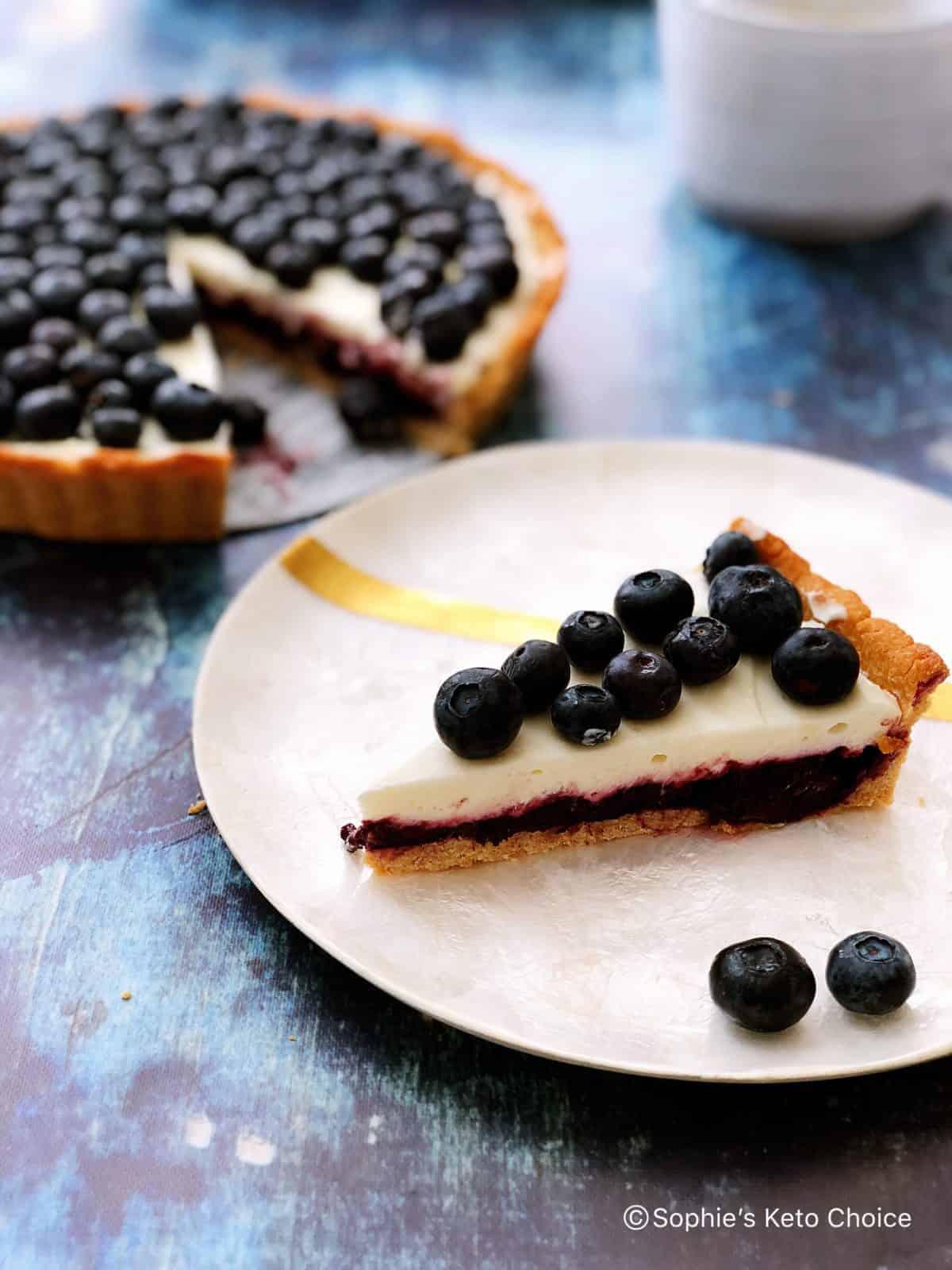 [生酮甜點] 藍莓優格乳酪塔 Blueberry Yogurt Cheese Tart- 免烤內餡、簡易生酮塔皮