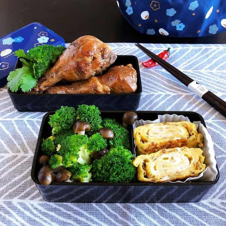 生酮便當食譜特輯(一) : 滷雞腿、吻仔魚玉子燒、炒花椰菜鴻禧菇