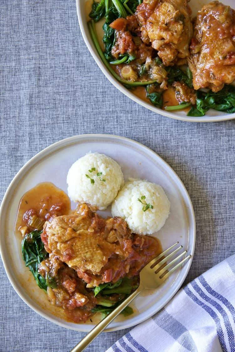 蕃茄菠菜燉雞腿 &偽馬鈴薯泥-有菜有肉一鍋到底-Instant Pot壓力鍋/瓦斯爐