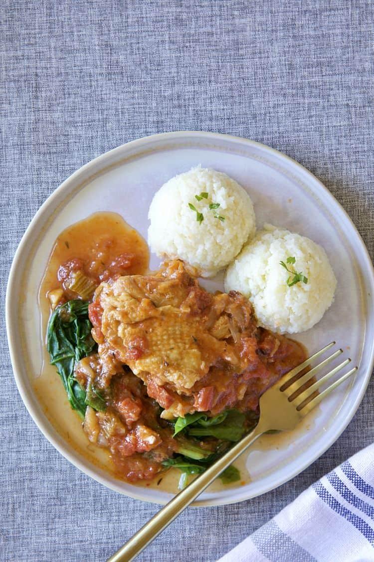 蕃茄菠菜燉雞腿