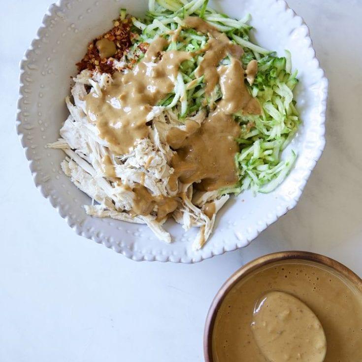 麻醬涼拌雞絲小黃瓜 & 自製麻醬只要5分鐘-低醣生酮-夏天必吃開胃涼菜