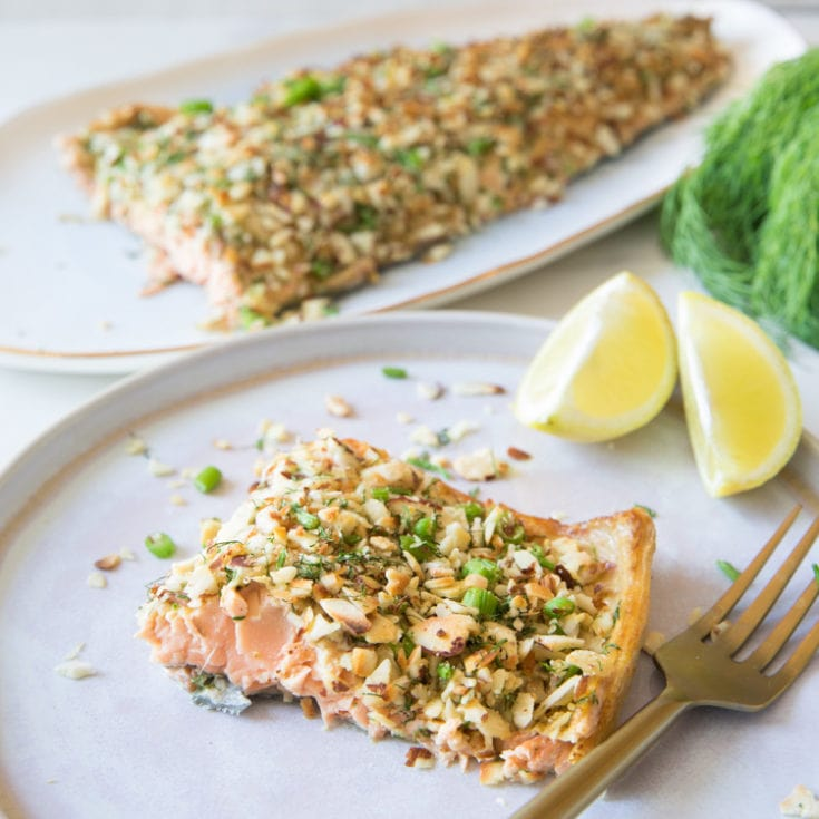 杏仁脆片烤鮭魚 -4樣材料、15分鐘華麗上桌-零失敗簡單又大器
