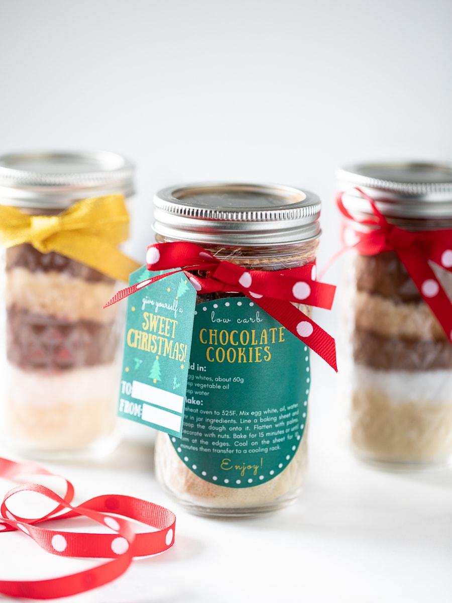 低醣巧克力餅乾預拌粉梅森罐 -簡易手作聖誕節禮物,附免費聖誕禮物吊牌