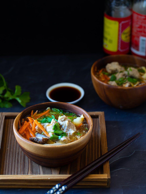 肉羹湯 -用蒟蒻粉代替太白粉勾芡,控制血糖、減熱量多纖維!健康減醣