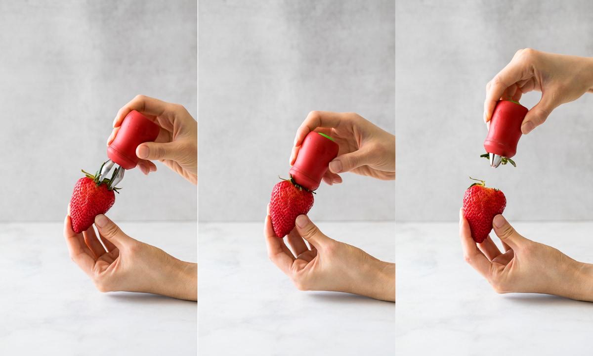 OXO草莓去蒂器 示範去蒂頭